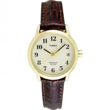 Timex Womens Easy Reader Brown Leather Strap Watch