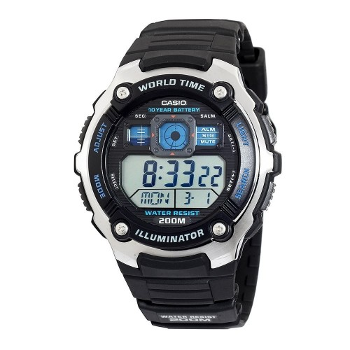 Casio AE-2000W-1AVCF Men's AE2000W-1AV Silver-Tone and Black Multi-Functional Digital Sport Watch