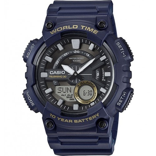 Casio Men's Heavy Duty Quartz Resin Watch, Color Blue (Model: AEQ110W-2AV)