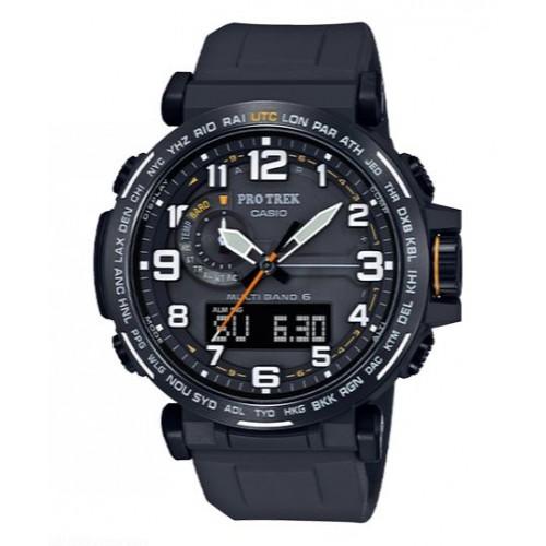 Casio Men's Pro Trek Stainless Steel Quartz Watch with Black Silicone Strap