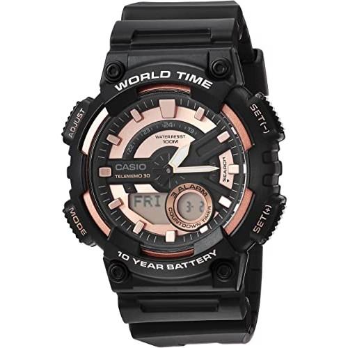 Casio Men's 'Telememo' Quartz Resin Casual Watch, Color:Black (Model: AEQ-110W-1A3V)