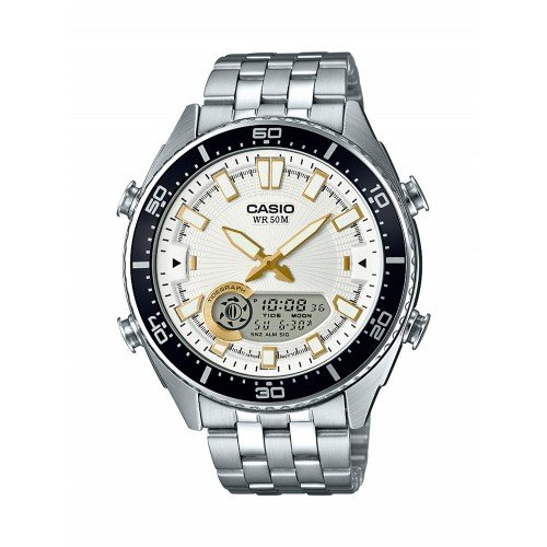 Casio Men's 'Ana-Digi' Quartz Metal and Stainless Steel Casual Watch, Color Silver-Toned (Model: AMW-720D-7AVCF)
