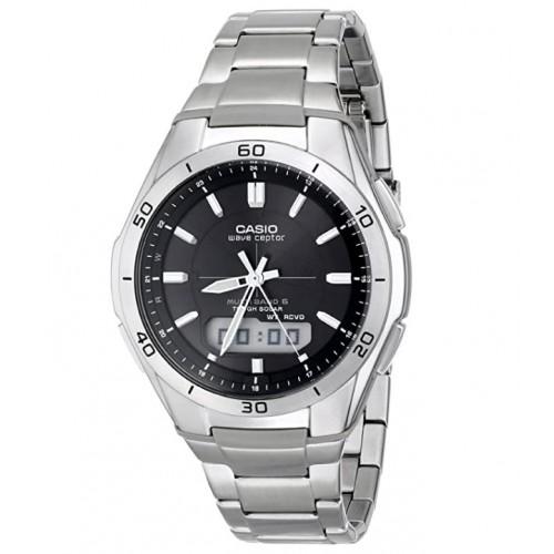 Casio Men's WVA-M640D-1ACR Wave Ceptor Analog-Digital Stainless Steel Bracelet Watch