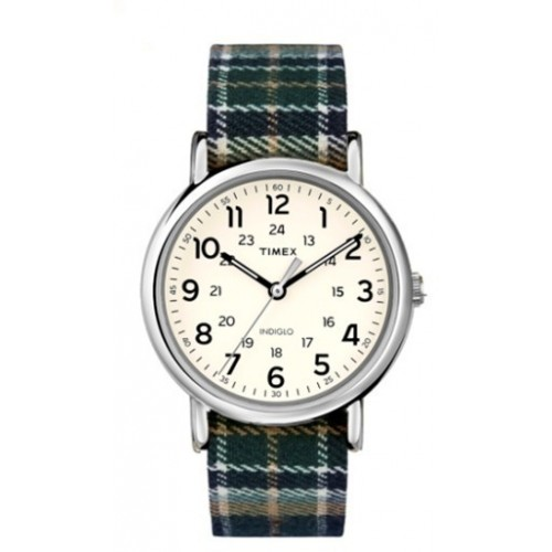 Timex TW2R51400 Weekender   38mm Plaid Fabric Strap Watch