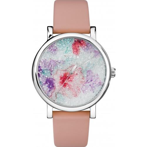 Timex TW2R84300 Crystal Bloom With Swarovski   Crystals 38mm Leather Strap Watch