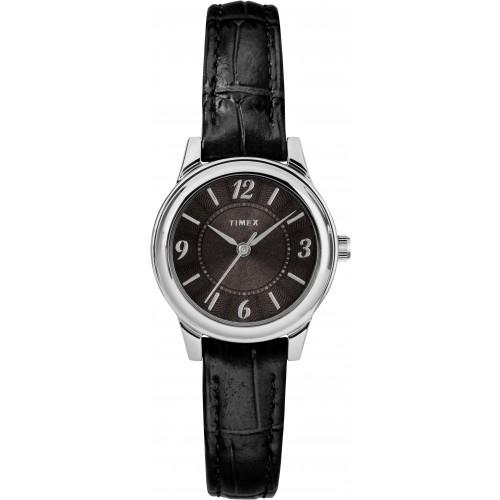 Timex TW2R86300 Women's Black Croco Print Leather Strap Watch