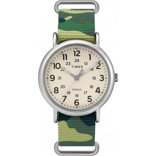 Timex TW2T30800 Weekender Green Camo Nylon Slip-Thru Strap Watch
