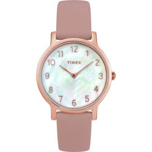 Timex Women's TW2T36100 Metropolitan Blush/Rose Gold-Tone/MOP Leather Strap Watch