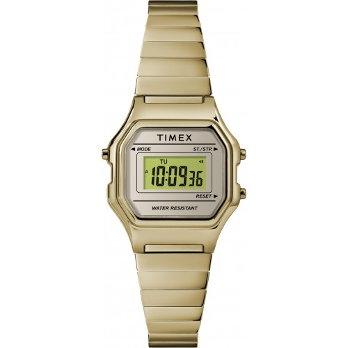 Timex Women's TW2T48000 Classic Digital Mini Gold-Tone Stainless Steel Expansion Band Watch