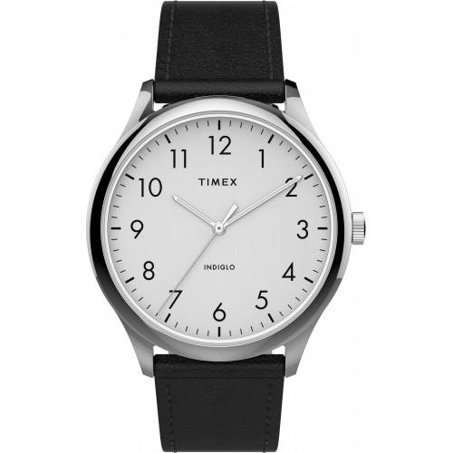 Timex TW2T71800 Men's Modern Easy Reader   40mm Black Leather Strap Watch