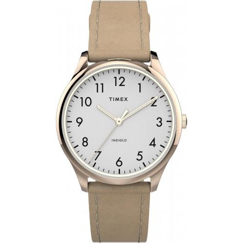 Timex TW2T72400 Women's Modern Easy Reader   32mm Beige Leather Strap Watch
