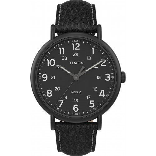 Timex TW2T73400 Men's Weekender   XL 43mm 2-piece Black Leather Strap Watch