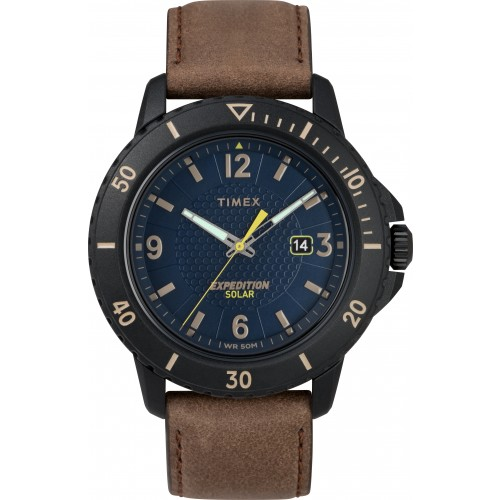 Timex TW4B14600 Men's Expedition   Gallatin Solar Powered Brown Leather Strap Watch