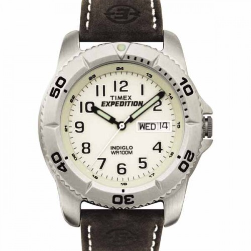 Timex Mens Expedition Brown Leather Sport Watch
