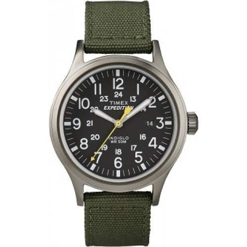 Timex Mens Expedition Black Green Dial Sport Watch
