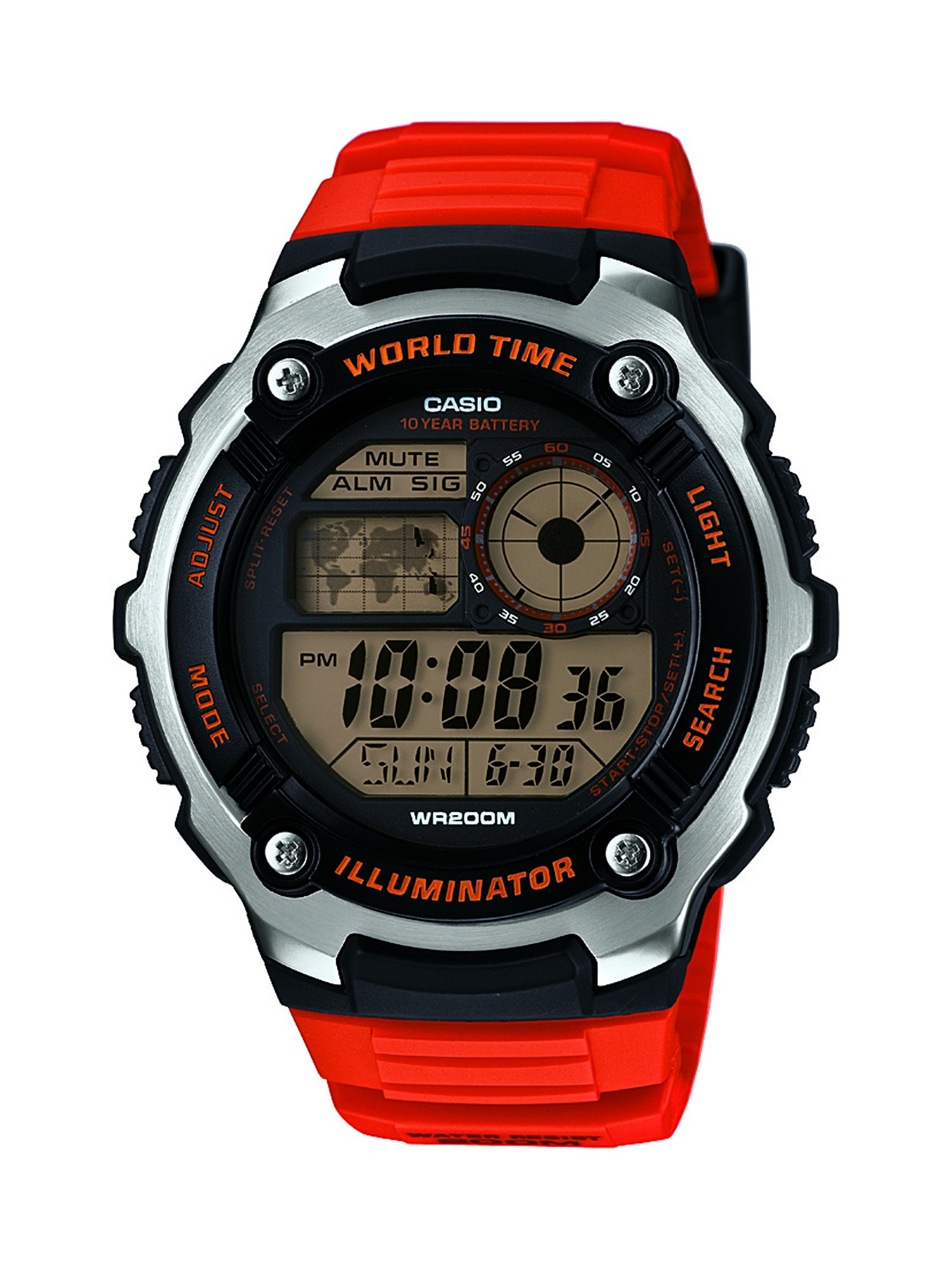 92162928f Casio Men's AE-2100W-4AVCF Digital 10-Year Battery Digital Display Quartz  Orange