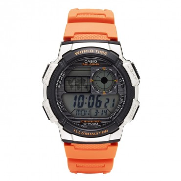 Casio Men's '10-Year Battery' Quartz Resin Casual Watch, Color Orange (Model: AE-1000W-4BVCF)
