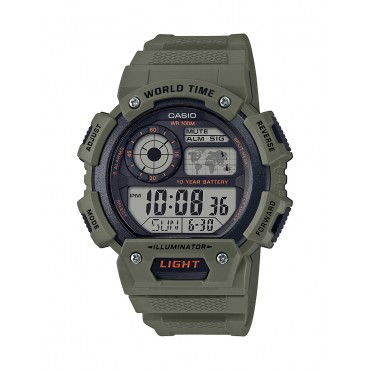 Casio Men's World Time Chronograph Green Resin Watch
