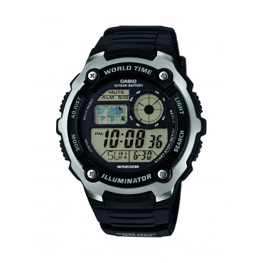 Casio Men's AE-2100W-1AVCF Digital Black and Silver-Tone Watch