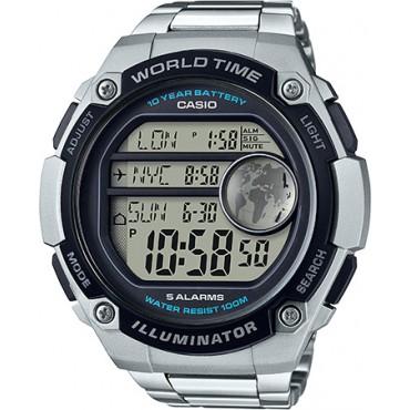 Casio Men's World Time Watch, Silver Tone Bracelet