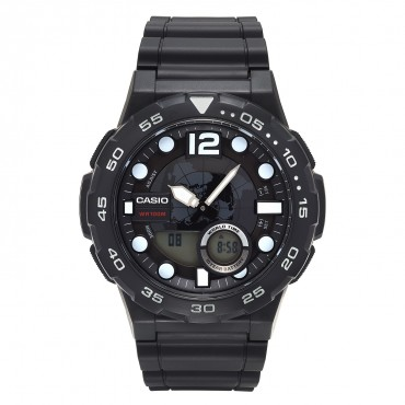 Casio Men's '3D Dial' Quartz Resin Watch, Color:Black (Model: AEQ100W-1AV)