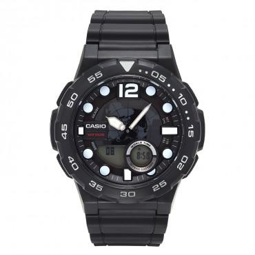 Casio Men's '3D Dial' Quartz Resin Watch, Color:Black (Model: AEQ100W-1AV)