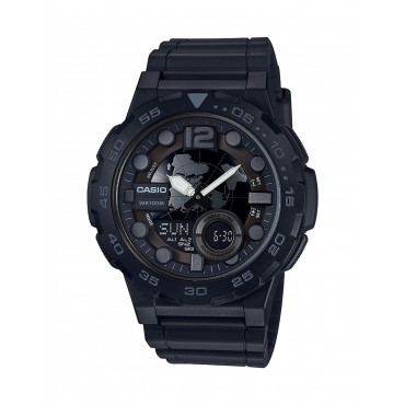 Casio Men's 'Classic' Quartz Stainless Steel and Resin Casual Watch, Color Black (Model: AEQ-100W-1BVCF)