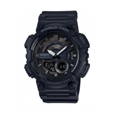 Casio Men's 'CLASSIC' Quartz Stainless Steel and Resin Casual Watch, Color:Black (Model: AEQ-110W-1BVCF)