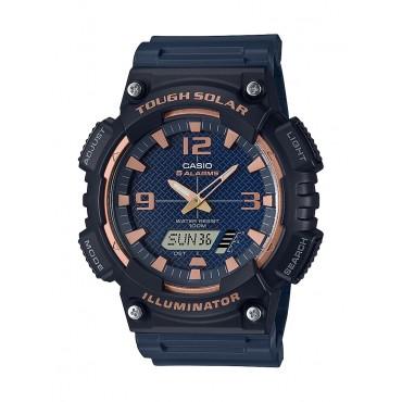 Casio Men's AQS810W-2A3V Solar Ana-Digi Blue/ Rosegold Sport Watch