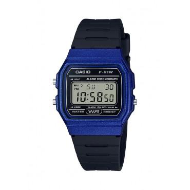 Casio Men's 'Classic' Quartz Plastic and Resin Casual Watch, Color Black (Model: F-91WM-2ACF)