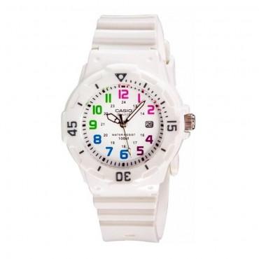 Casio Women's LRW200H-7BVCF White Resin Ranbow Dial Watch