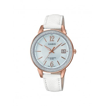 Casio Women's Classic White Leather Strap Watch