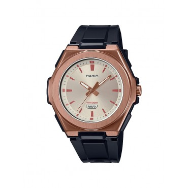 Casio Ladies LWA300HRG-5EV Stainless Rosegold IP Analog Black Resin Strap Watch