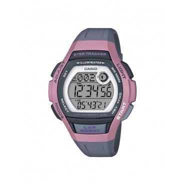 Casio Womens Step Tracker 10 Year Battery Life Gray Resin Watch