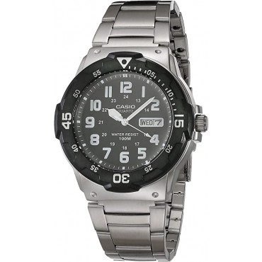 Casio Men's Diver Style Black Dial Stainless Steel Watch