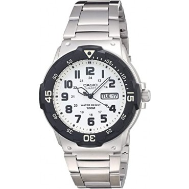 Casio Men's Diver Style White Dial Stainless Steel Watch