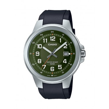 Casio Men's MTPE190-3BV Military Green Analog Dial Black Resin Strap Watch