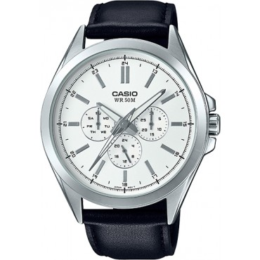 Casio Men's MTPSW300L-7AV Classic Multi-Hand Black Leather Strap Watch
