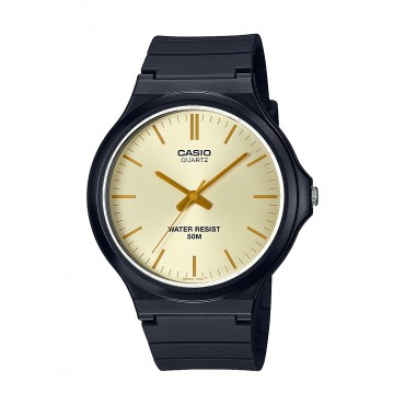 Casio Men's MW240-9E3V Analog  Black Resin Gold Dial Strap Watch