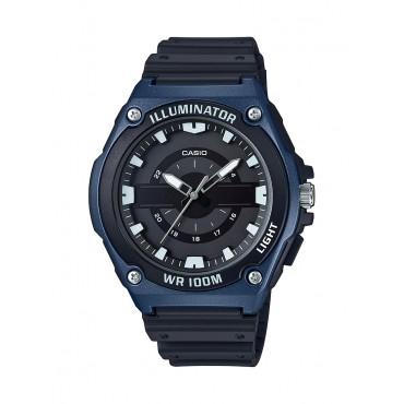 Casio Men's MWC-100H-2AVCF Quartz Black Resin Blue Bezel Watch