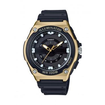 Casio Men's MWC-100H-9AVCF Quartz Black Gold Bezel Watch
