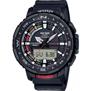 Casio Mens Pro Trek Fishing Timer Black Resin Watch