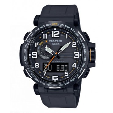 Casio Men's Pro Trek Stainless Steel Quartz Watch with Black Silicone Strap