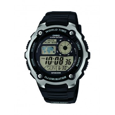 Casio Mens Silver Tone Black Multifunction Watch