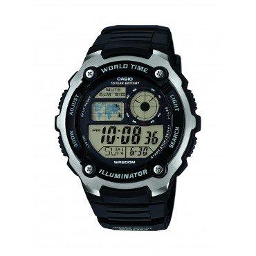 Casio Men's AE-2100W-1AVCF Digital Black and Silver-Tone Watch
