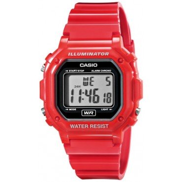 Casio F-108WHC-4ACF Classic Red Stainless Steel Watch