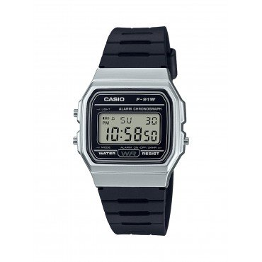 Casio Men's 'Classic' Quartz Metal and Resin Casual Watch, Color Black (Model: F-91WM-7ACF)