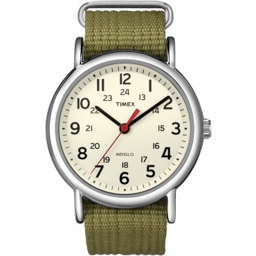Timex Unisex T2N651 Weekender Olive Nylon Strap Casual Watch
