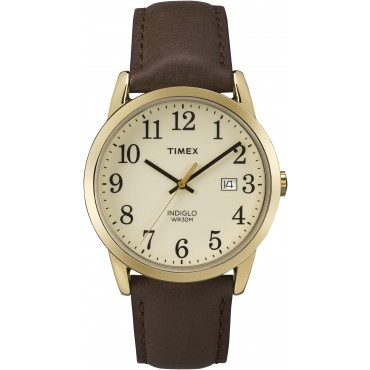 Timex Easy Reader Date Full-Size Leather Strap Watch