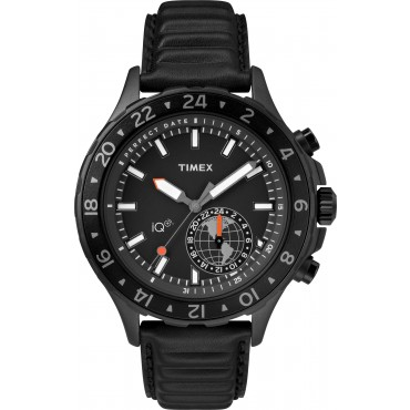 Timex TW2R39900 iQ+ Move Multi-Time 43mm Leather Strap Watch